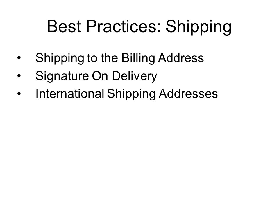 Best Practices: Shipping