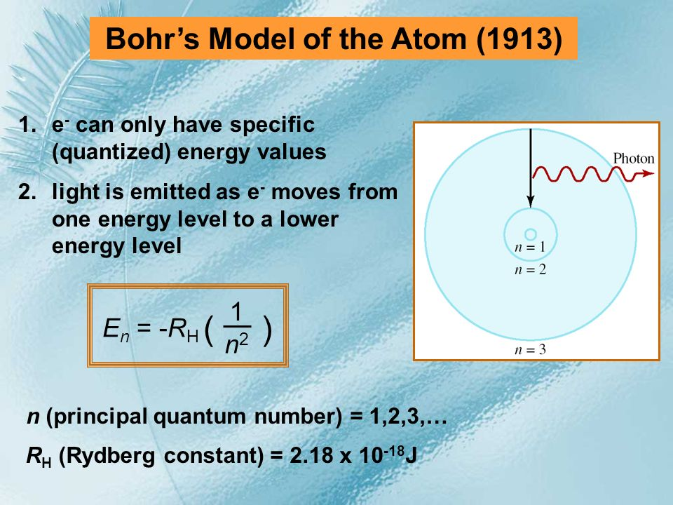 Bohr's Model of the Atom (1913) n (principal quantum number) = 1,2,3,…