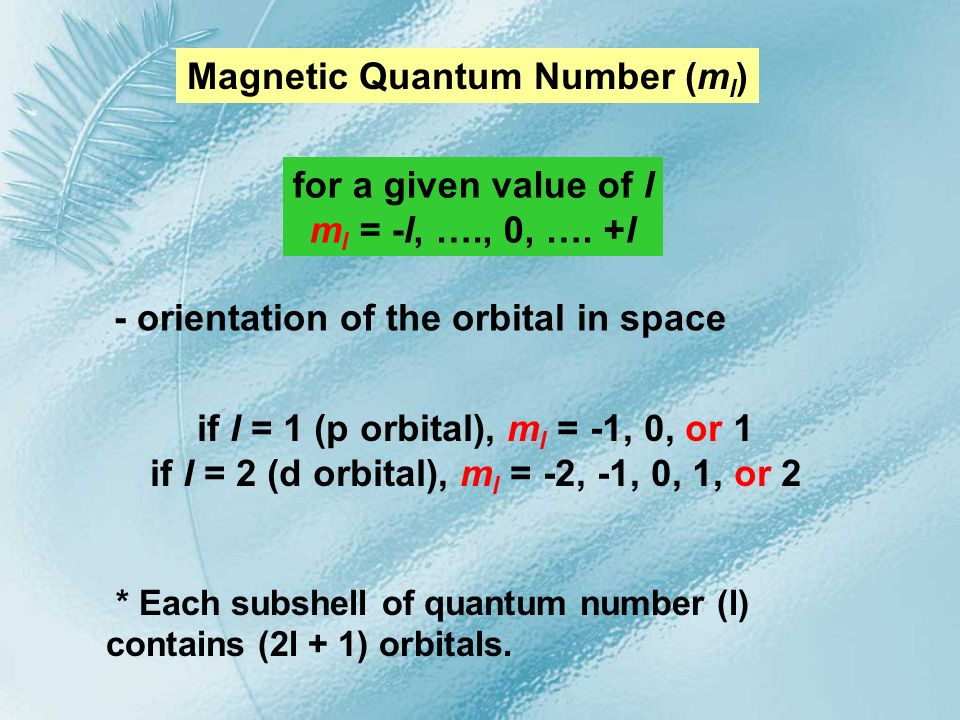 Magnetic Quantum Number (ml)