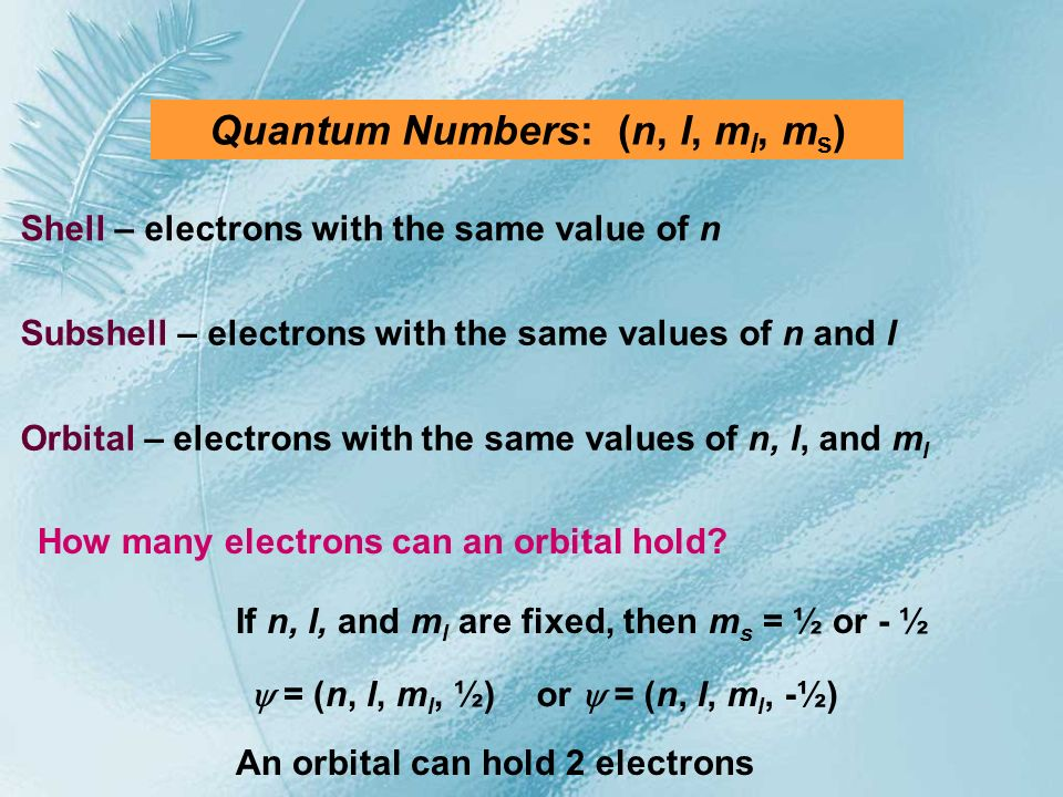 Quantum Numbers: (n, l, ml, ms)