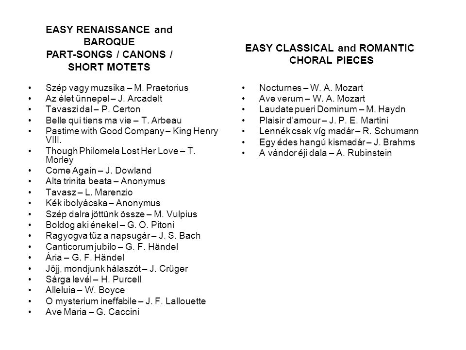 EASY RENAISSANCE and BAROQUE PART-SONGS / CANONS / SHORT MOTETS