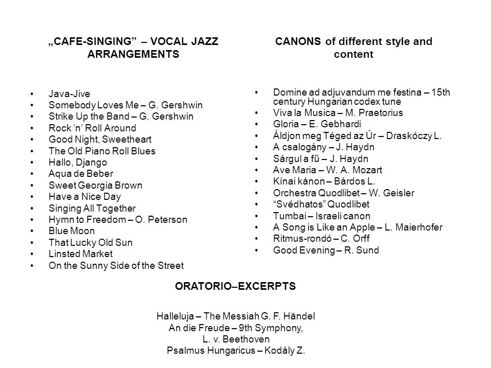 """CAFE-SINGING – VOCAL JAZZ ARRANGEMENTS"