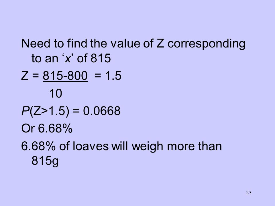 Need to find the value of Z corresponding to an 'x' of 815