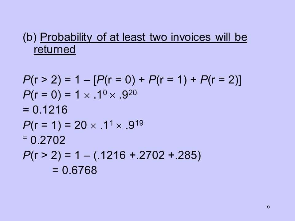 (b) Probability of at least two invoices will be returned