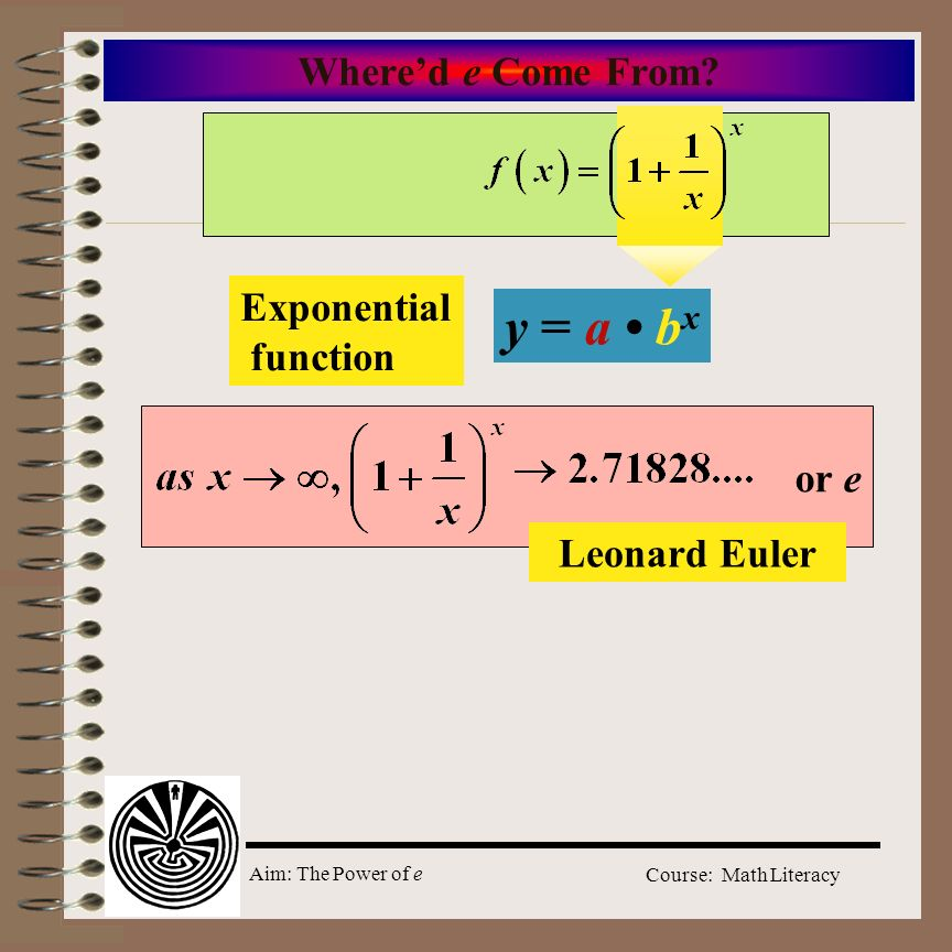 y = a • bx Where'd e Come From Exponential function or e