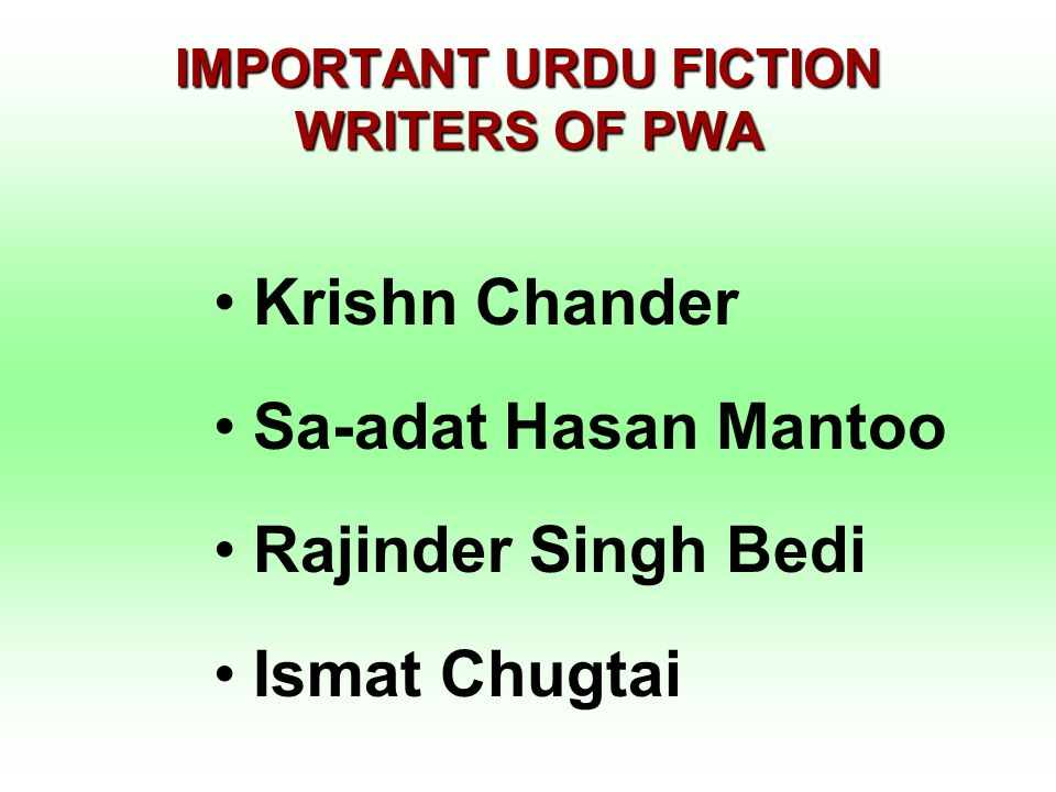 IMPORTANT URDU FICTION WRITERS OF PWA
