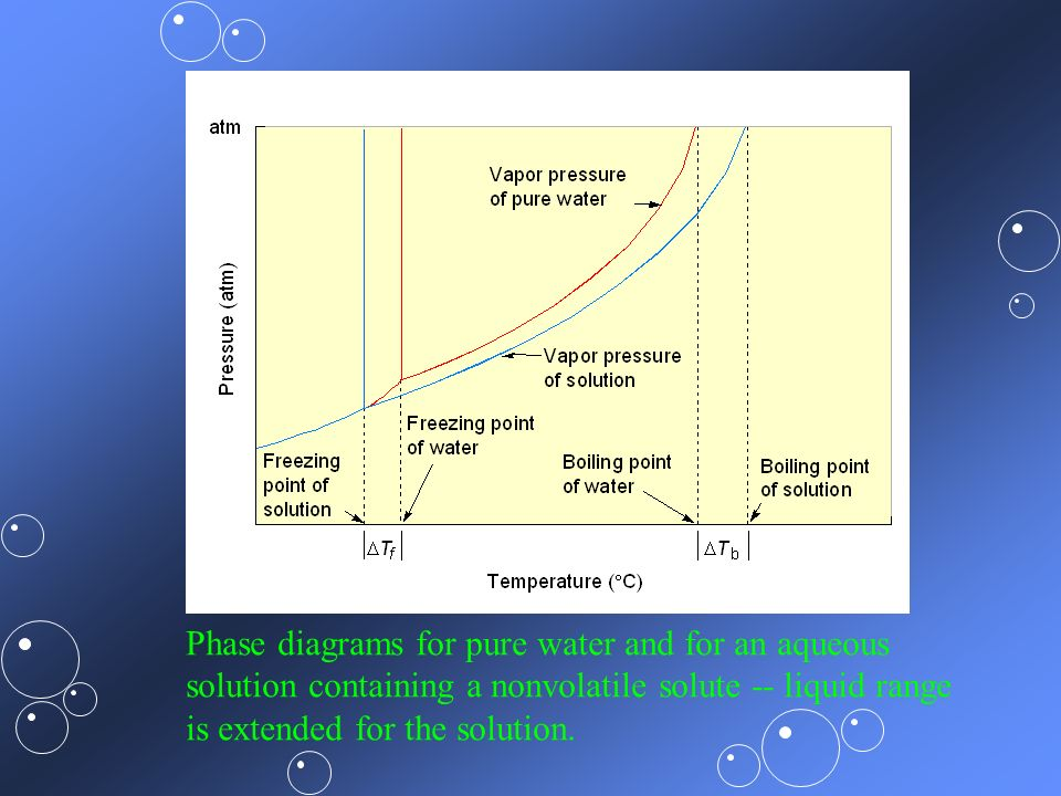 Phase diagrams for pure water and for an aqueous