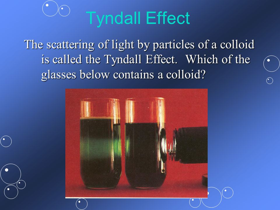 Tyndall Effect The scattering of light by particles of a colloid is called the Tyndall Effect.