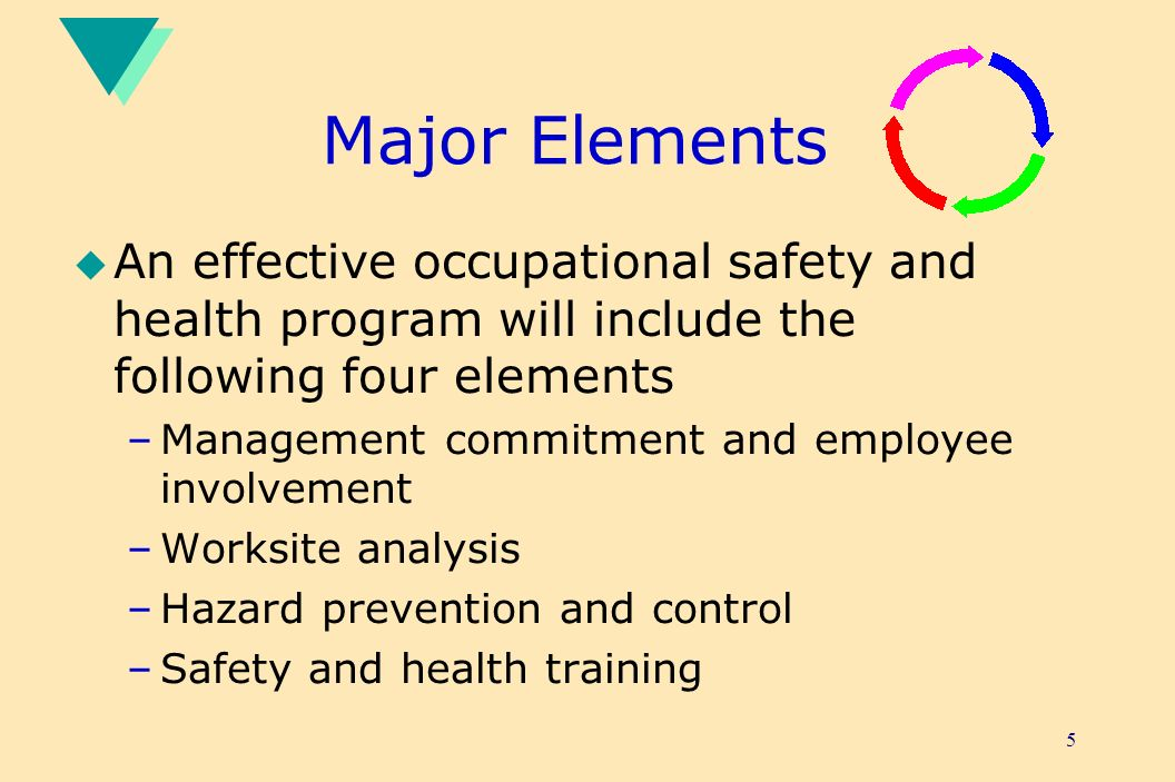 Major Elements An effective occupational safety and health program will include the following four elements.