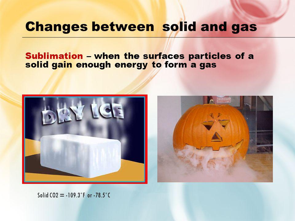 Changes between solid and gas
