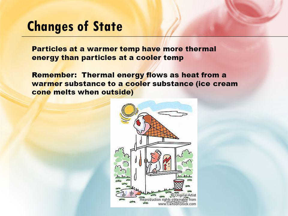 Changes of State Particles at a warmer temp have more thermal energy than particles at a cooler temp.