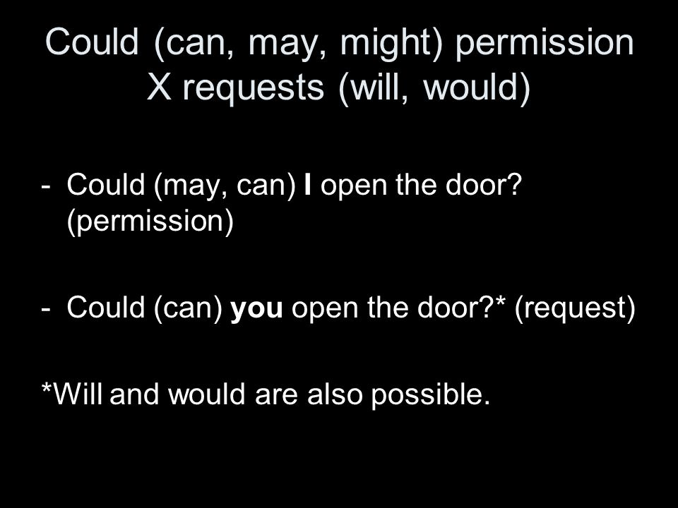 Could (can, may, might) permission X requests (will, would)