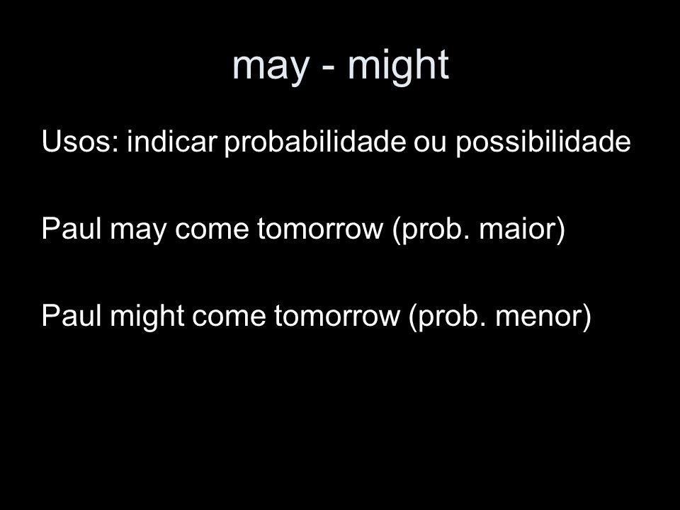 may - might Usos: indicar probabilidade ou possibilidade
