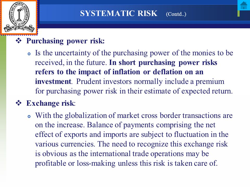 SYSTEMATIC RISK (Contd..)