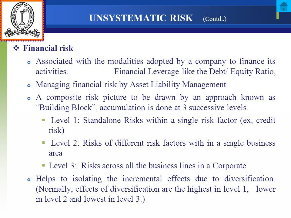 UNSYSTEMATIC RISK (Contd..)