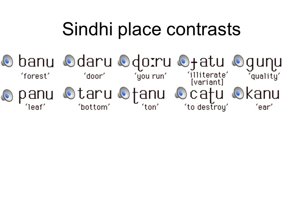 Sindhi place contrasts