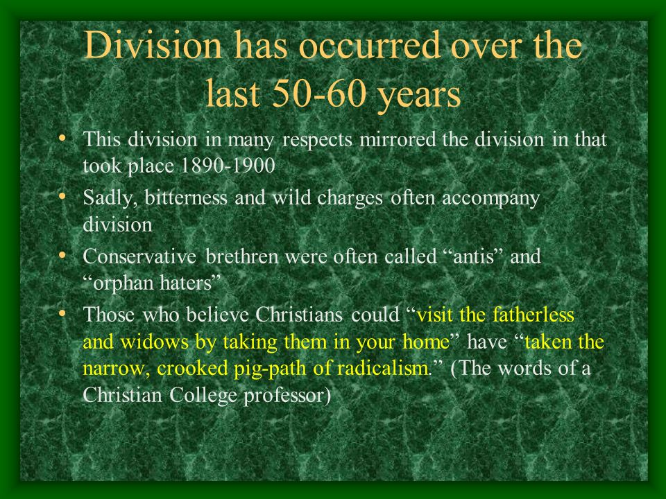 Division has occurred over the last 50-60 years