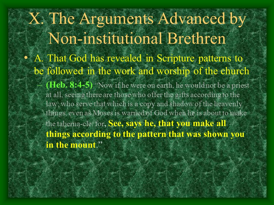 X. The Arguments Advanced by Non-institutional Brethren