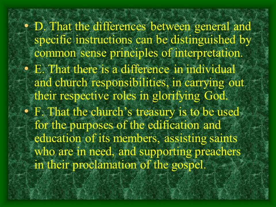 D. That the differences between general and specific instructions can be distinguished by common sense principles of interpretation.