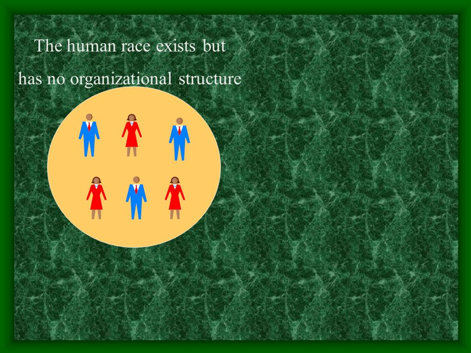 The human race exists but has no organizational structure