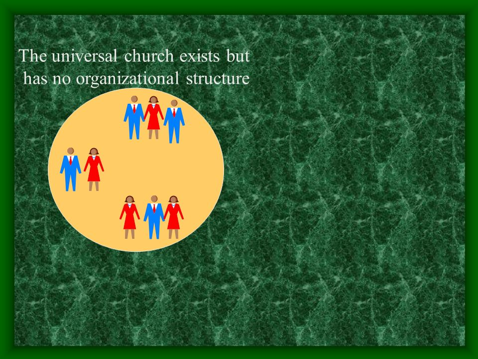 The universal church exists but has no organizational structure
