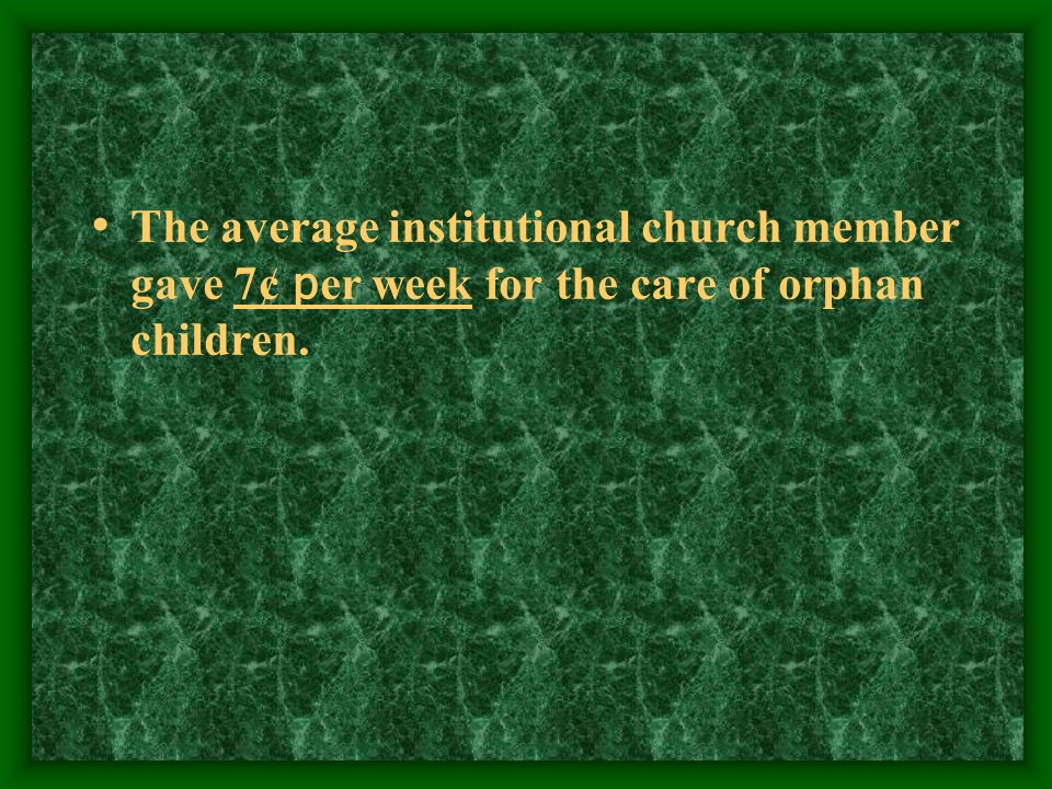 The average institutional church member gave 7¢ per week for the care of orphan children.