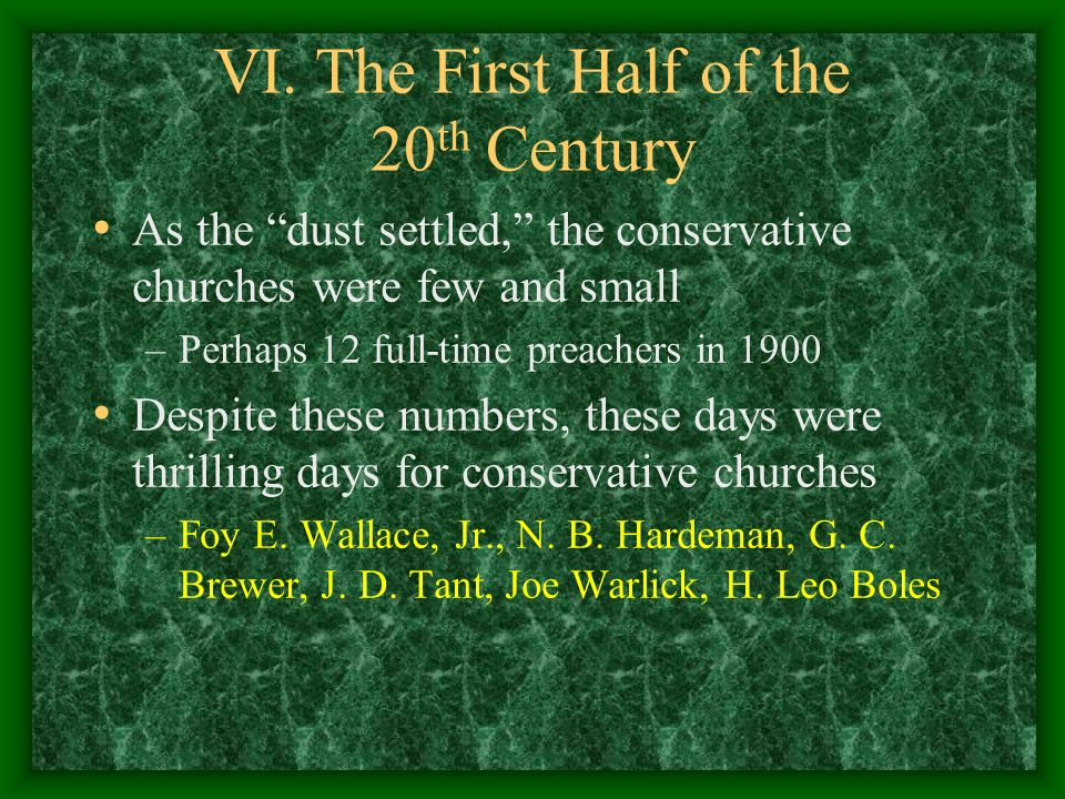 VI. The First Half of the 20th Century