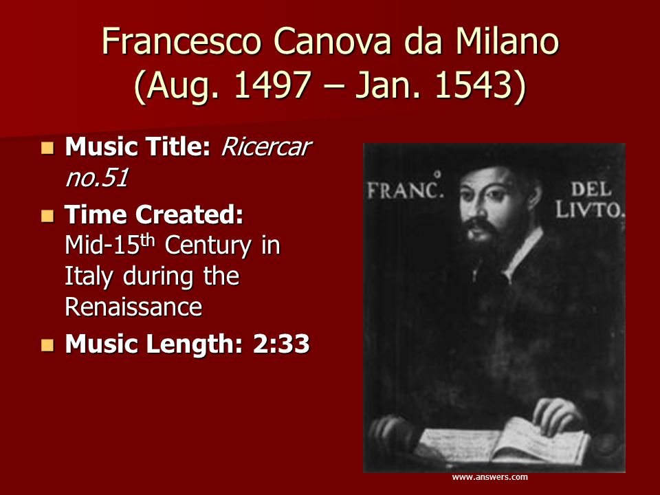 Francesco Canova da Milano (Aug. 1497 – Jan. 1543)