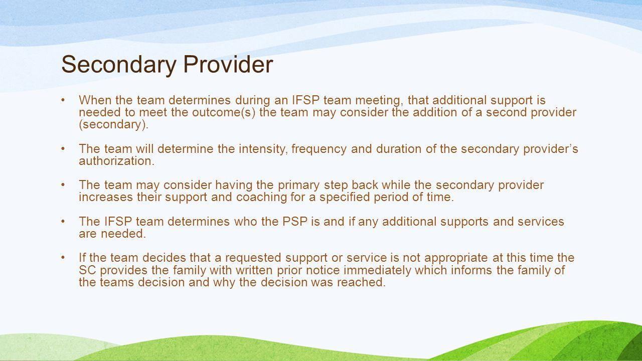 Secondary Provider