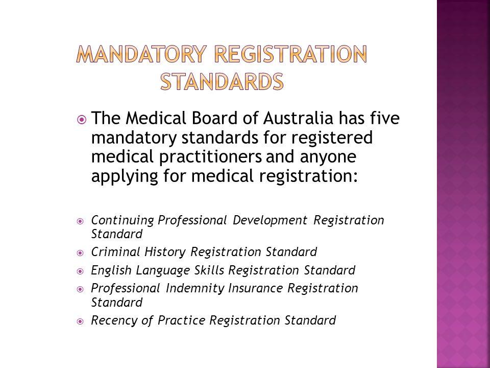Mandatory registration standards