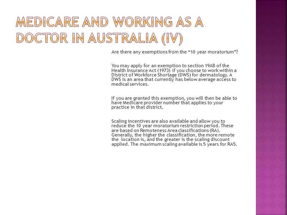 Medicare and working as a doctor in australia (Iv)