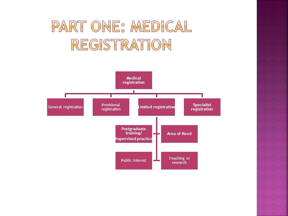Part one: medical registration