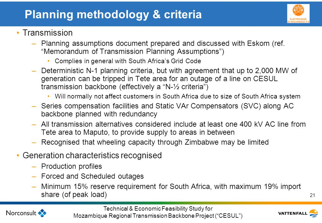 Planning methodology & criteria