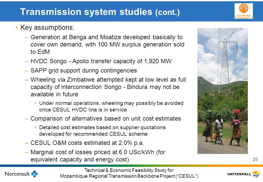 Transmission system studies (cont.)