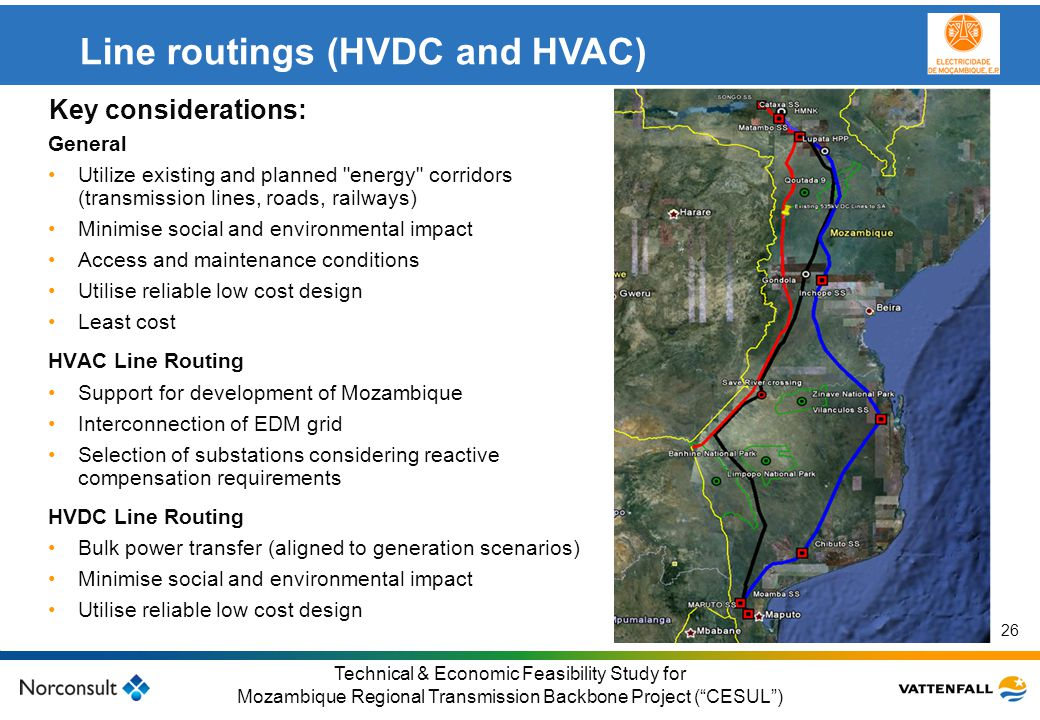 Line routings (HVDC and HVAC)