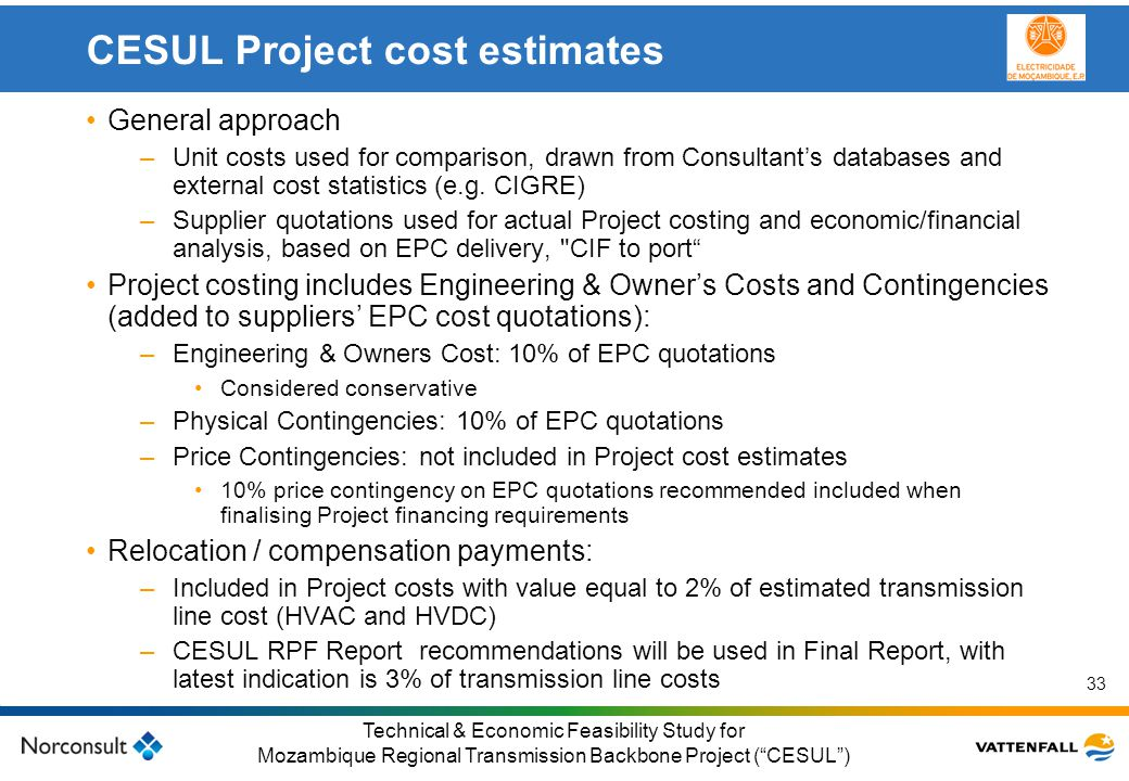CESUL Project cost estimates