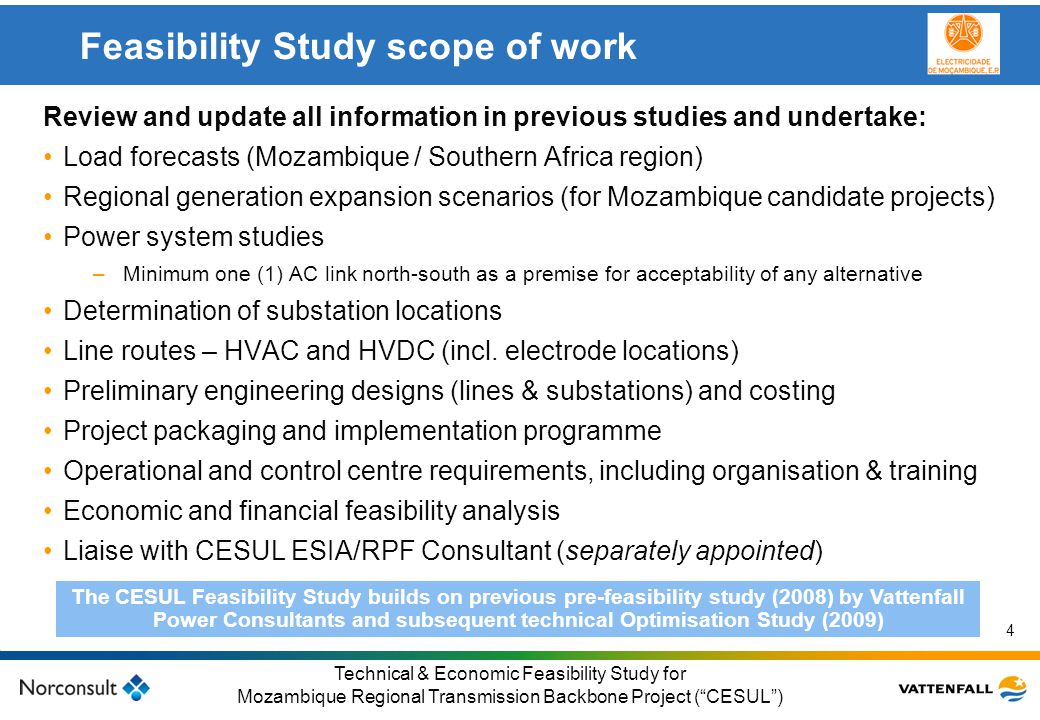 Feasibility Study scope of work