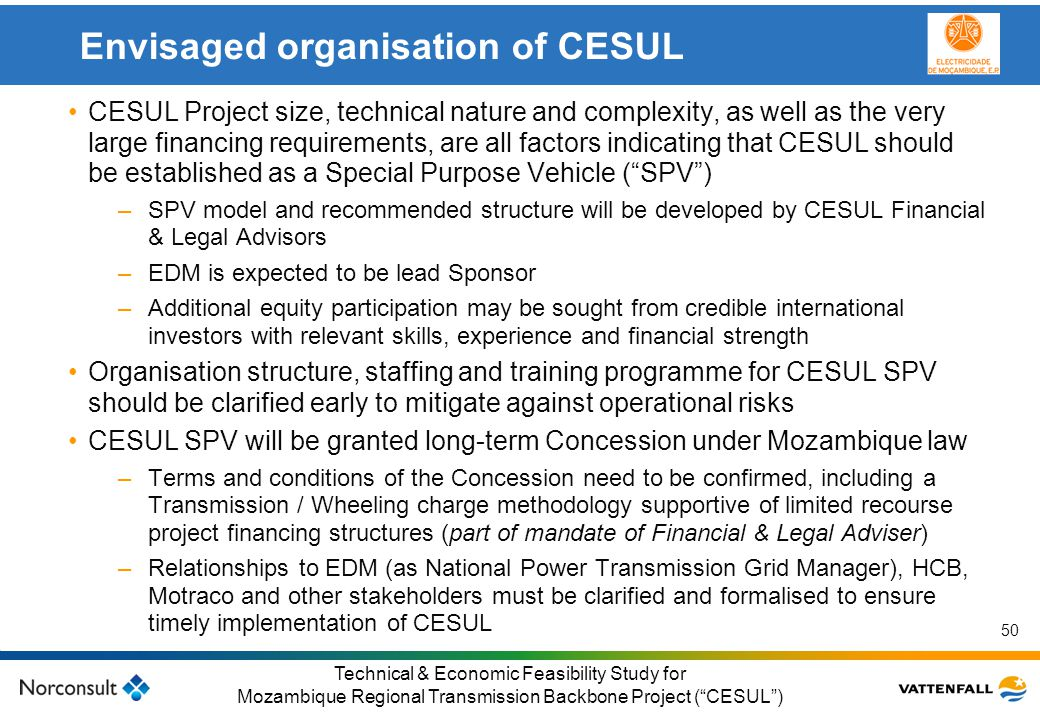 Envisaged organisation of CESUL