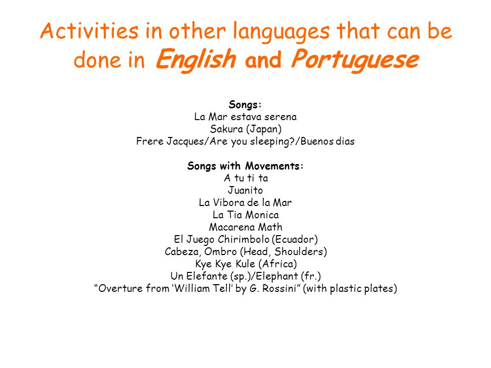 Activities in other languages that can be done in English and Portuguese