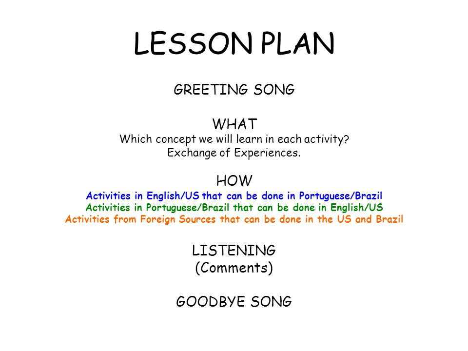 LESSON PLAN GREETING SONG WHAT HOW LISTENING (Comments) GOODBYE SONG