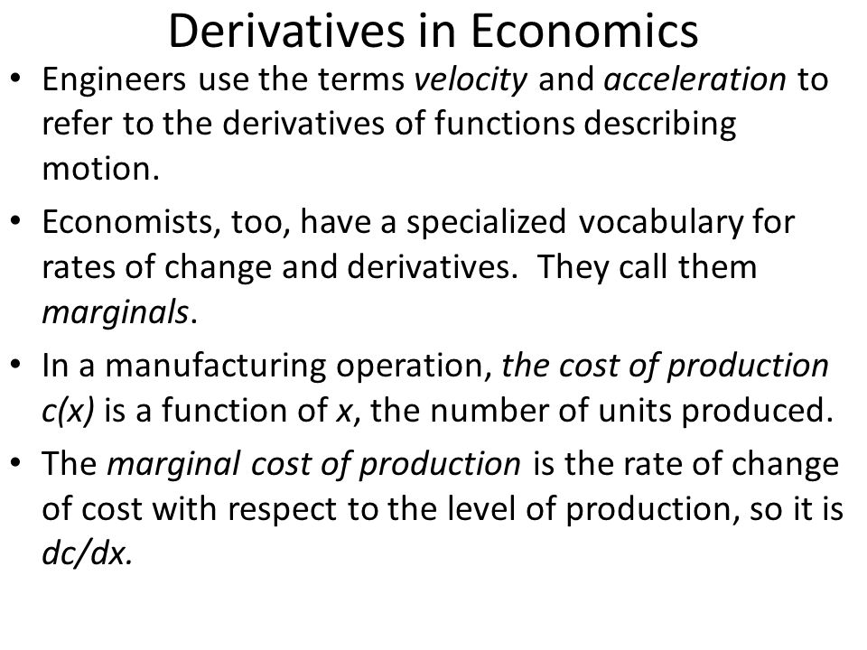 Derivatives in Economics
