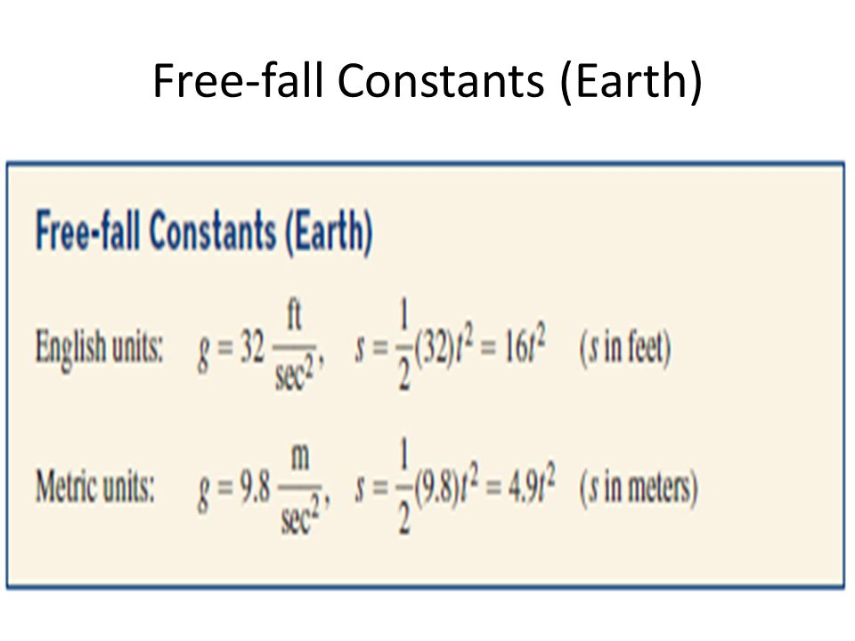 Free-fall Constants (Earth)