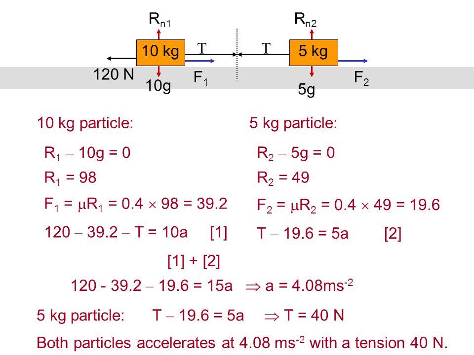 Rn1 Rn2. 10 kg. T T. 5 kg. 120 N. F1. F2. 10g. 5g. 10 kg particle: 5 kg particle: