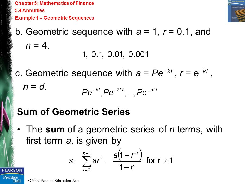 b. Geometric sequence with a = 1, r = 0.1, and n = 4.
