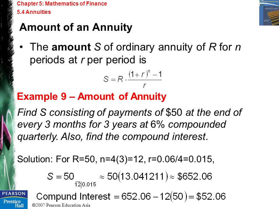 The amount S of ordinary annuity of R for n periods at r per period is