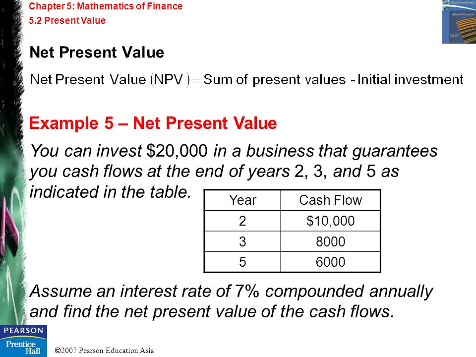 Example 5 – Net Present Value