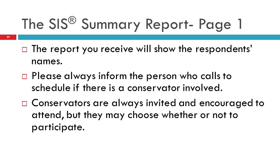 The SIS® Summary Report- Page 1