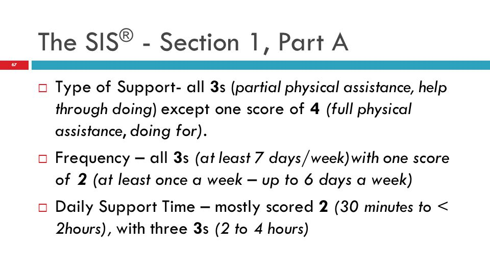 The SIS® - Section 1, Part A