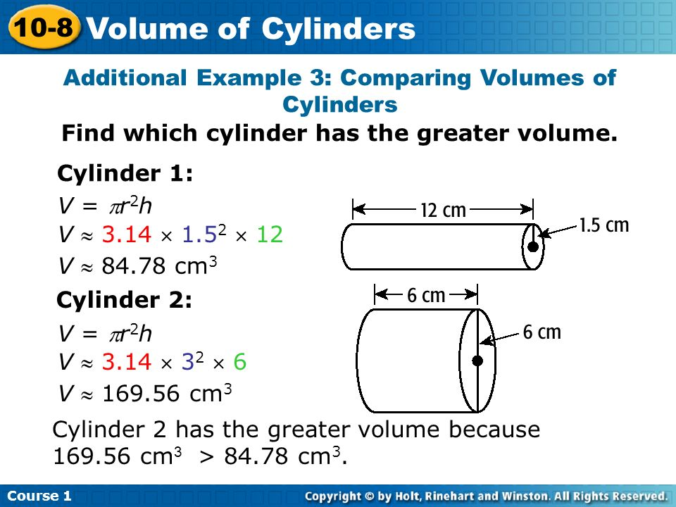 Course Volume of Cylinders.