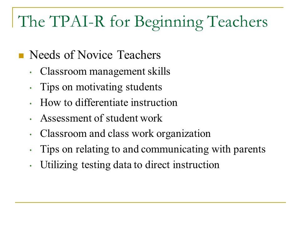 The TPAI-R for Beginning Teachers